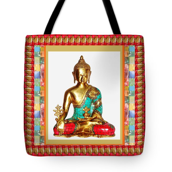 Buddha Sparkle Bronze Painted N Jewel Border Deco Navinjoshi  Rights Managed Images Graphic Design I Tote Bag