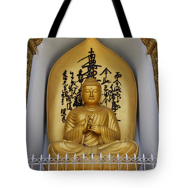 Buddha Statue At The World Peace Pagoda Pokhara Tote Bag by Robert Preston