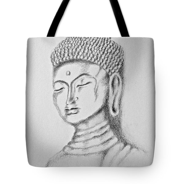 Tote Bag featuring the drawing Buddha Study by Victoria Lakes