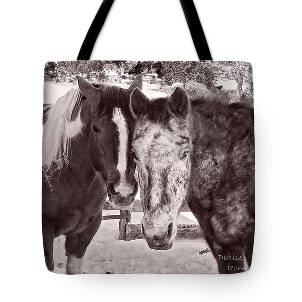 Buddies In Snow Tote Bag by Denise Romano