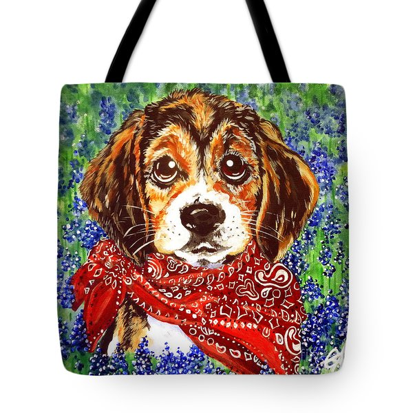 Buddy Dog Beagle Puppy Western Wildflowers Basset Hound  Tote Bag