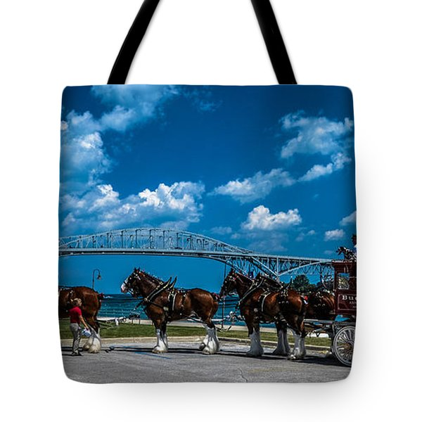 Budweiser Clydsdales And Blue Water Bridges Tote Bag