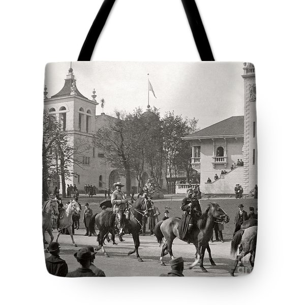 Tote Bag featuring the photograph Buffalo Bill Columbian Exposition 1893 by Martin Konopacki Restoration