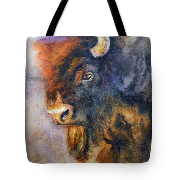 Tote Bag featuring the painting Buffalo Business by Karen Kennedy Chatham