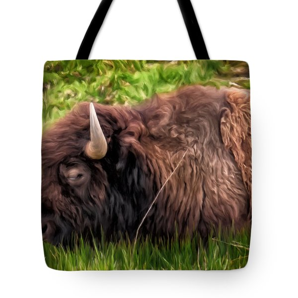 Tote Bag featuring the painting Buffalo Cat Nap by Michael Pickett