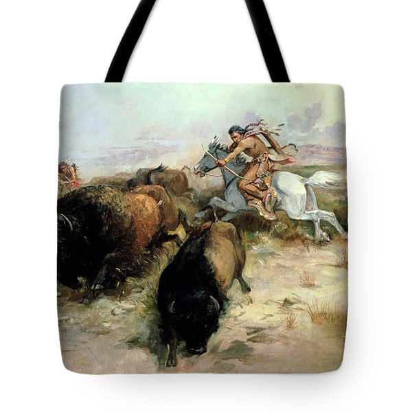 Buffalo Hunt Tote Bag by Charles Marion Russell
