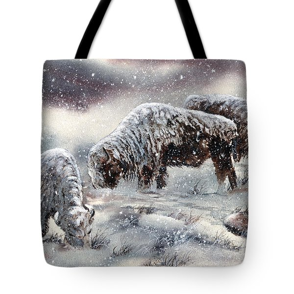 Buffalo In Snow Tote Bag