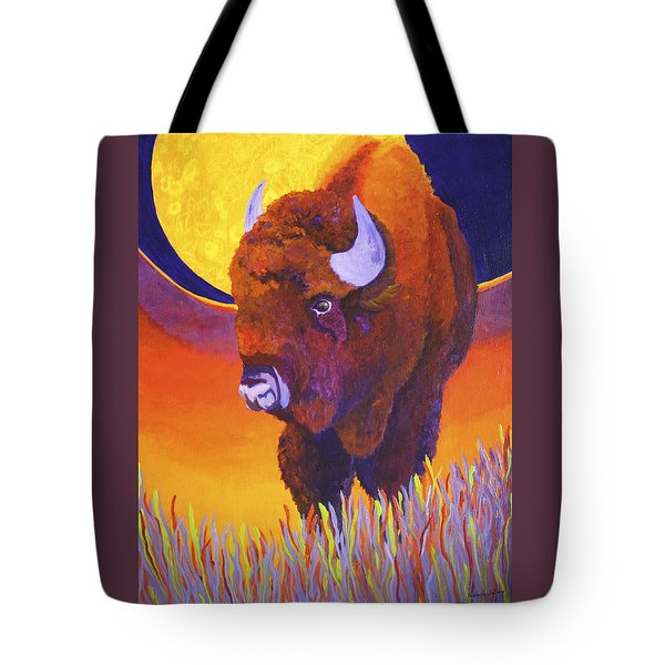 Tote Bag featuring the painting Buffalo Moon by Nancy Jolley