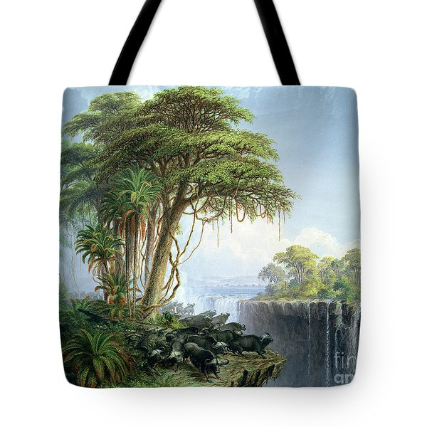 Buffalos Driven To The Edge Of The Chasm Opposite Garden Island Victoria Falls Tote Bag