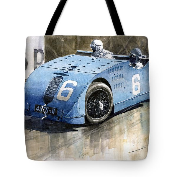 Bugatti Type 32 Tank 1923 French Gp  Tote Bag by Yuriy  Shevchuk