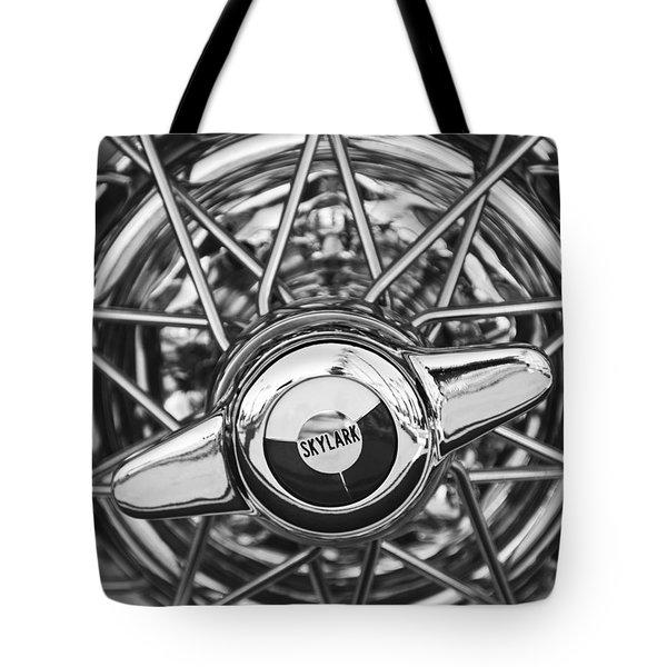 Buick Skylark Wheel Black And White Tote Bag by Jill Reger
