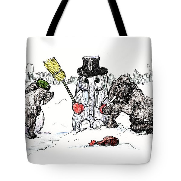 Building A Snow Elephant Tote Bag