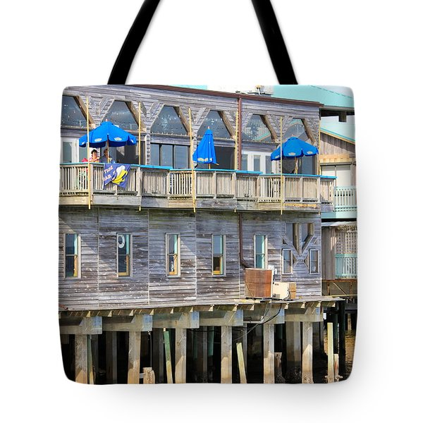 Building On Piles Above Water Tote Bag by Lorna Maza