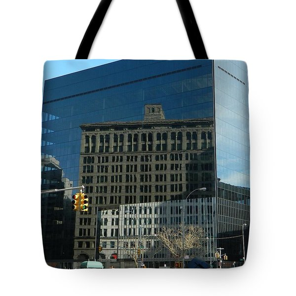Tote Bag featuring the photograph Building Reflections Nyc by Emmy Marie Vickers