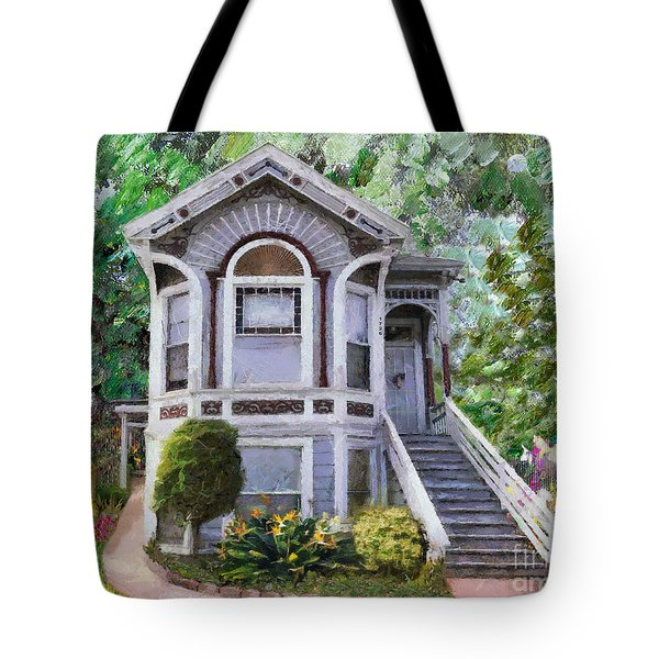 Tote Bag featuring the painting Alameda 1895 Queen Anne by Linda Weinstock