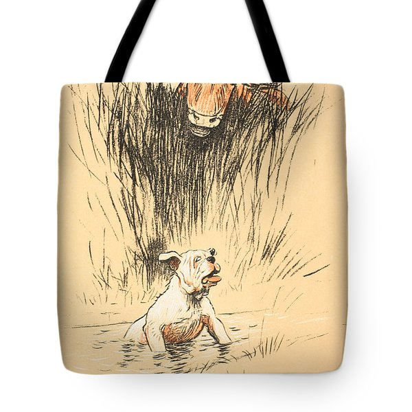 Bull And Dog In Field Tote Bag by Cecil Charles Windsor Aldin