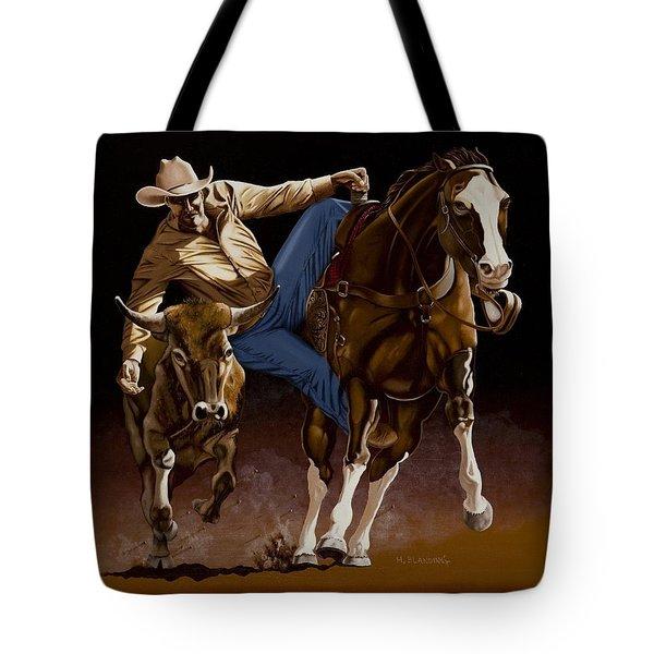 Bull Doggin' Tote Bag by Hugh Blanding