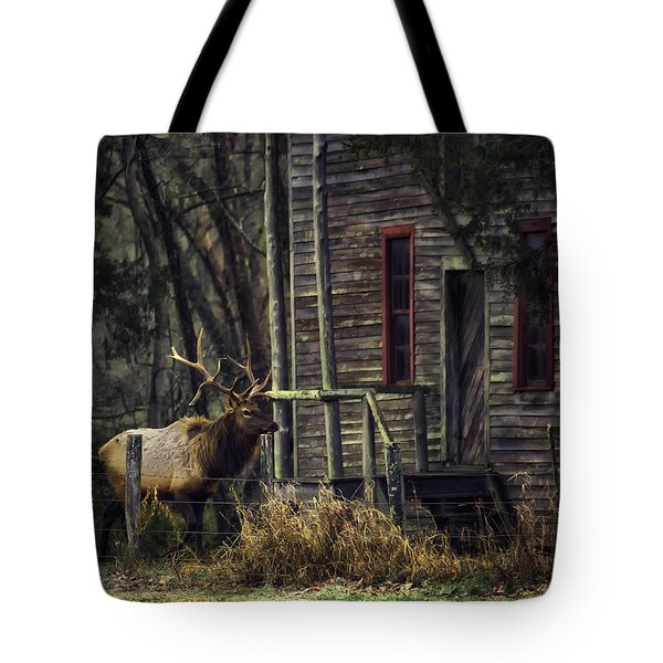 Bull Elk By The Old Boxley Mill Tote Bag