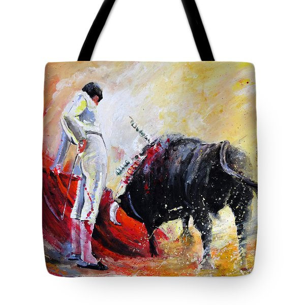 Bull In Yellow Light Tote Bag