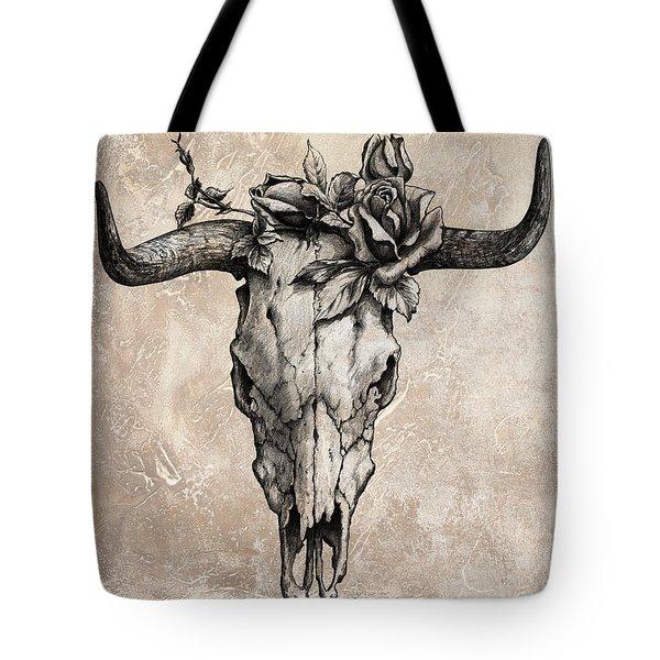 Bull Skull And Rose Tote Bag
