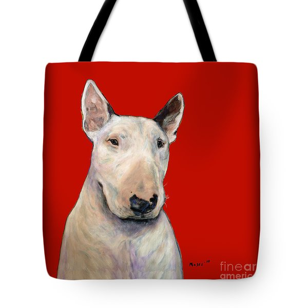 Bull Terrier On Red Tote Bag