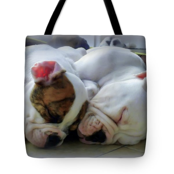 Bulldog Bliss Tote Bag by Karen Wiles