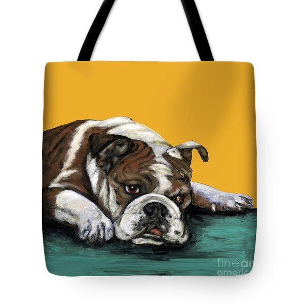 Bulldog On Yellow Tote Bag