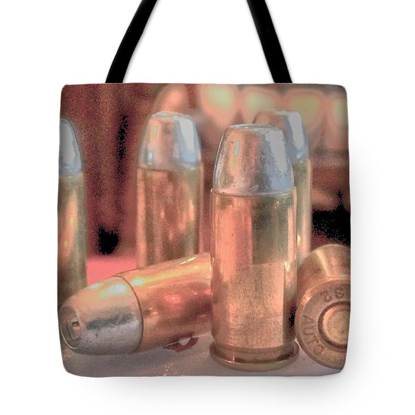 Bullet Art Hollow Point Soft Gold Tote Bag by Lesa Fine