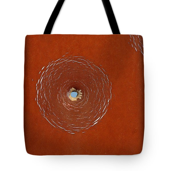 Tote Bag featuring the photograph Bullet Hole Patterns by Art Block Collections