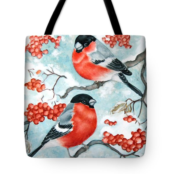 Bullfinch Couple Tote Bag by Inese Poga