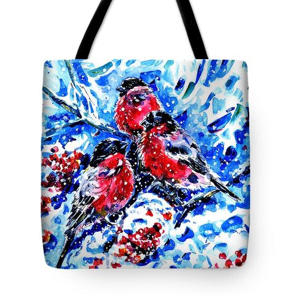 Bullfinches Tote Bag by Zaira Dzhaubaeva