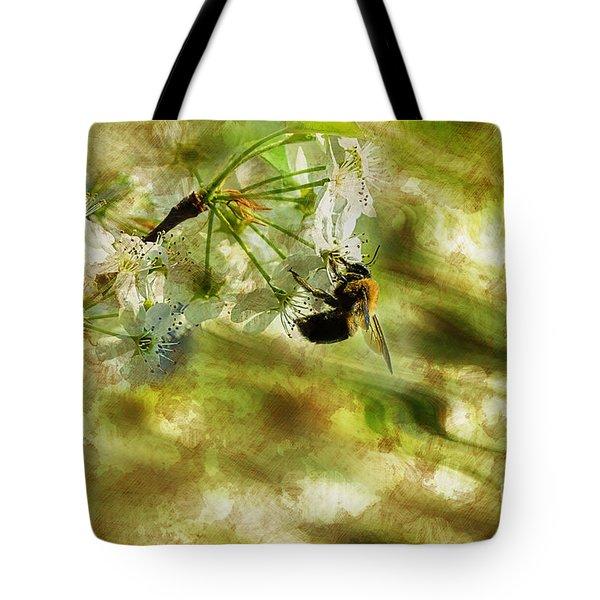 Bumble Bee Eating Sweet Nectar Tote Bag by Dan Friend
