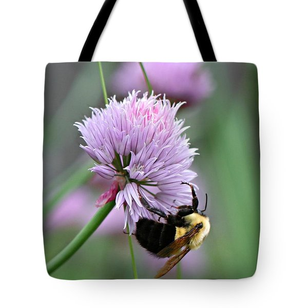 Tote Bag featuring the photograph Bumblebee On Clover by Barbara McMahon