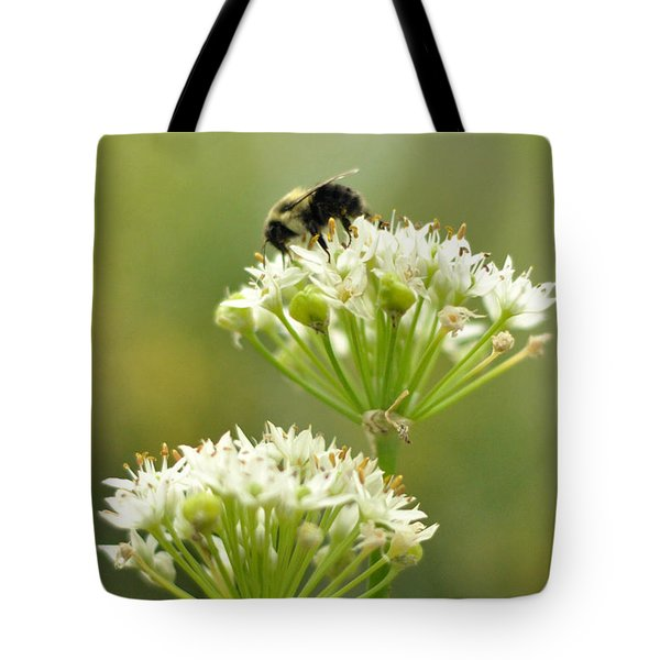 Tote Bag featuring the photograph Bumblebee On Garlic Chives by Rebecca Sherman