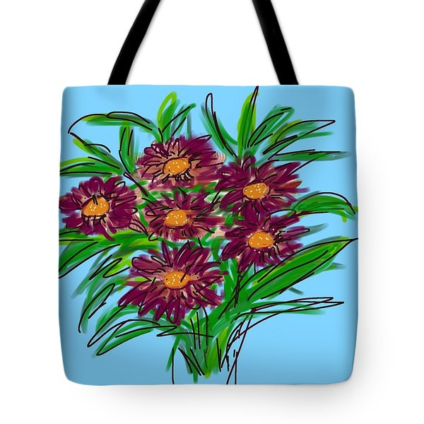 Tote Bag featuring the digital art Bunch Of Daisies by Christine Fournier