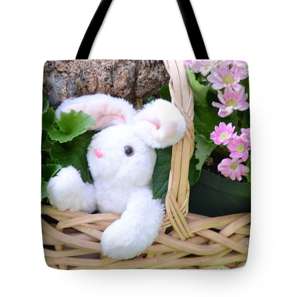 Bunny In A Basket Tote Bag by Kathleen Struckle