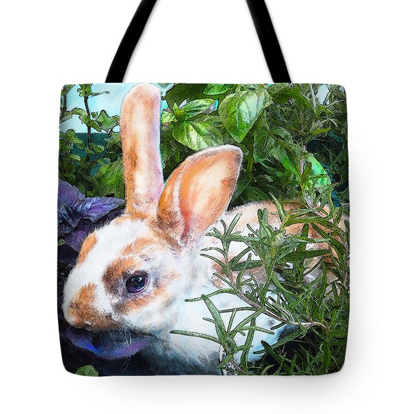 Tote Bag featuring the digital art Bunny In The Herb Garden by Jane Schnetlage