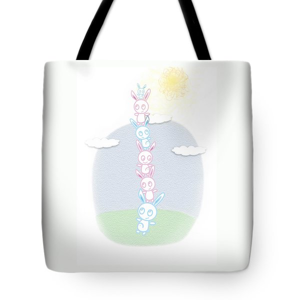 Tote Bag featuring the drawing Bunny Tower Childrens Illustration by Lenny Carter