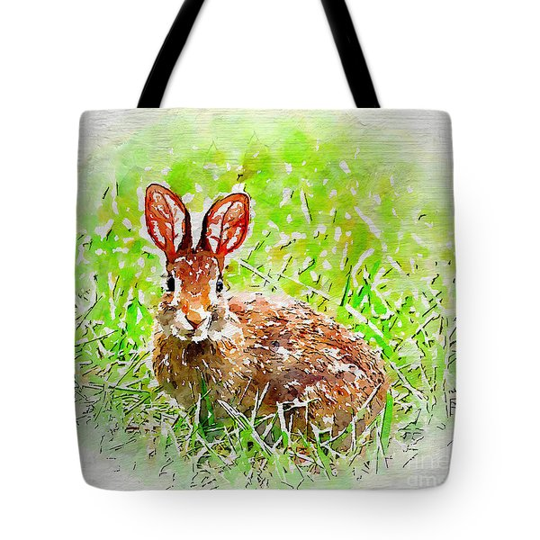 Bunny - Watercolor Art Tote Bag by Kerri Farley
