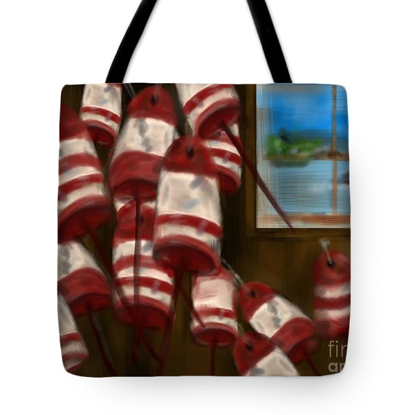 Buoys With A View      Tote Bag by Christine Fournier