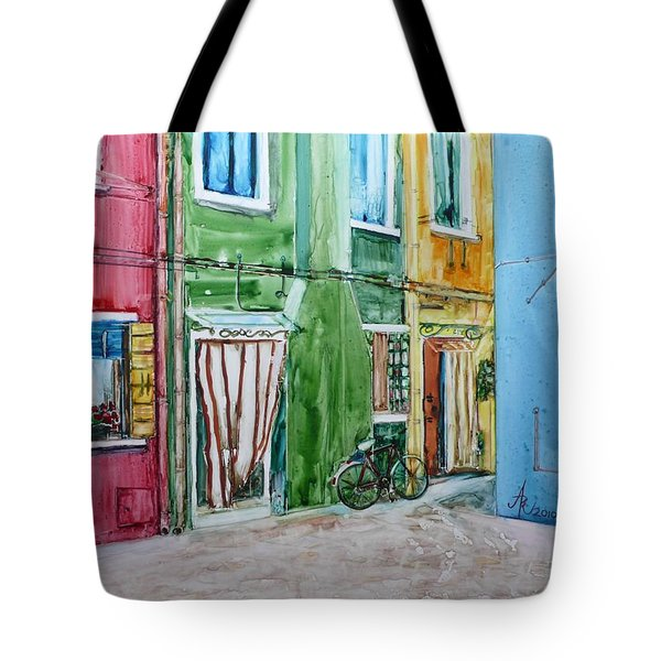 Tote Bag featuring the painting Burano by Anna Ruzsan