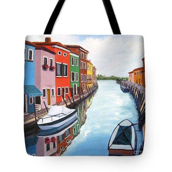 Tote Bag featuring the painting Burano by Cheryl Del Toro
