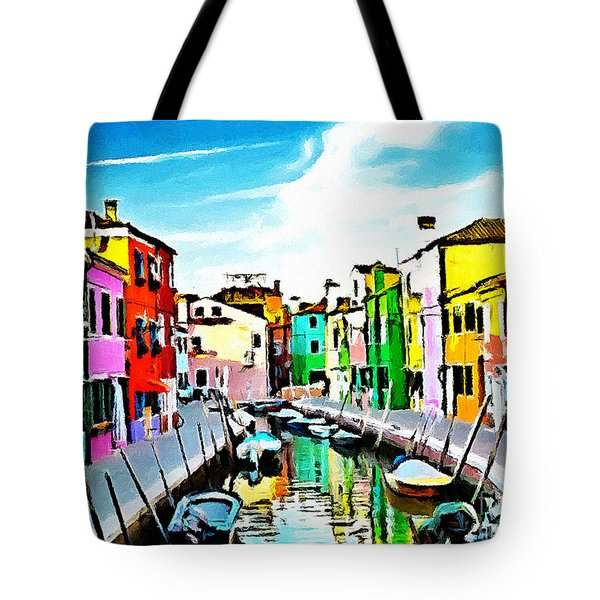 Tote Bag featuring the painting Burano - Venice - Italy by Ze  Di