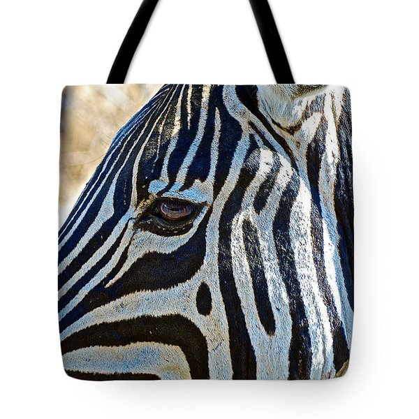 Burchell's Zebra's Face In Kruger National Park-south Africa Tote Bag by Ruth Hager