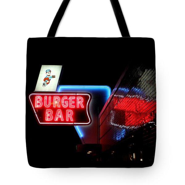 Burger Bar Neon Diner Sign At Night Tote Bag