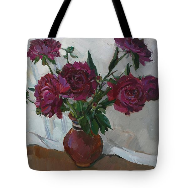 Burgundy Peonies Tote Bag