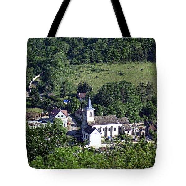 Burgundy Village Tote Bag
