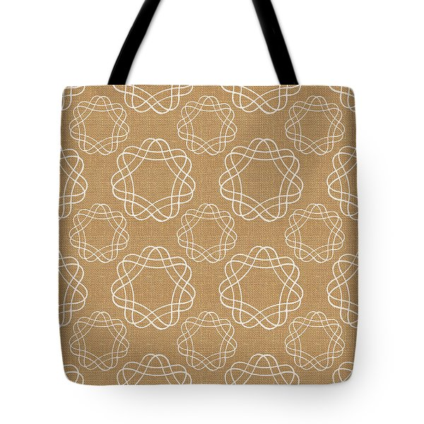 Burlap And White Geometric Flowers Tote Bag by Linda Woods