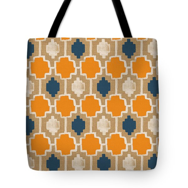 Burlap Blue And Orange Design Tote Bag by Linda Woods