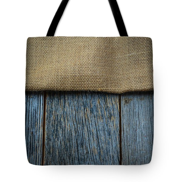 Burlap Texture On Wooden Table Background Tote Bag